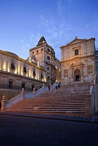 San Francesco church at night, Noto, Sicily, Italy