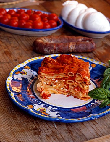 Baked pasta with mozzarella di bufala, Italy