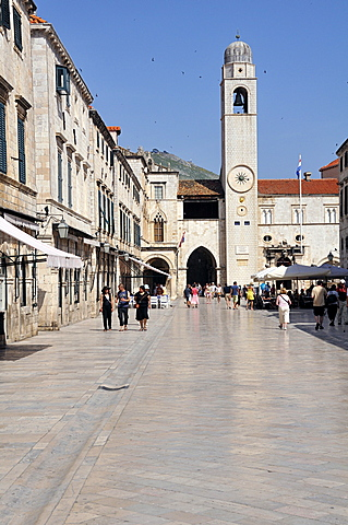 The clock tower in Luza square, Grad old town, Dubrovnik, Dalmatia, Croatia, Europe