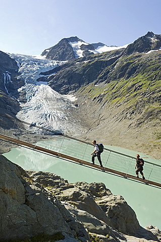 trift suspension bridge, trift glacier, switzerland