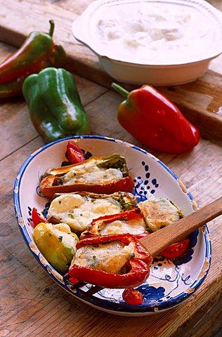 Bruschette with tomatoes and mozzarella di bufala, Italy