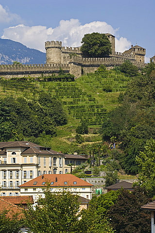 montebello castle and town, bellinzona, switzerland