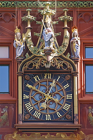 rathaus: clock, basel, switzerland