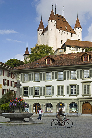 castle and rathausplatz, thun, switzerland