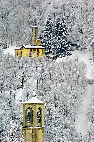 church with snow, brumano and burro, burro, italy