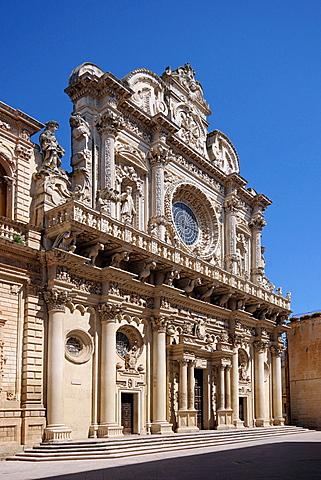 Favßade, Church of the Holy Cross, Lecce, Salentine Peninsula, Apulia, Italy