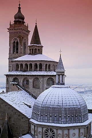 Snow on the chapel, Bergamo, Lombardy, Italy