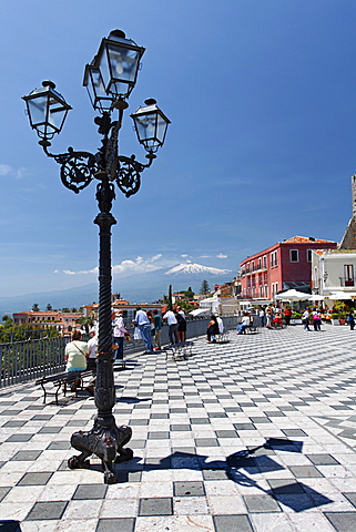 Old town square, Taormina, Sicily, Italy, Europe