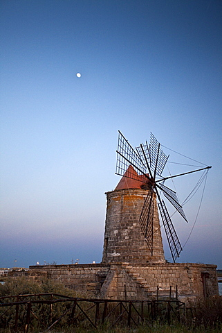 Windmill, salt works, Trapani, Sicily, Italy, Europe