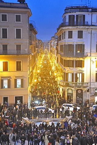 Rome. Italy. Europe. View of Via Condotti from Trinita dei Monti.