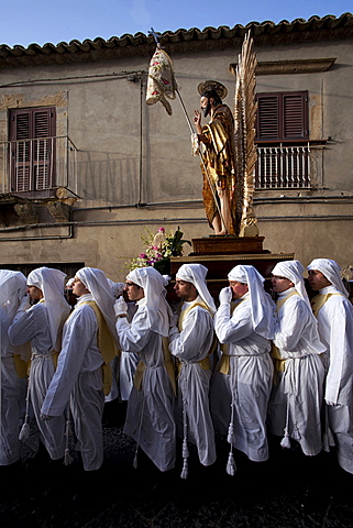 Easter religiour procession, Enna, Sicily, Italy, Europe