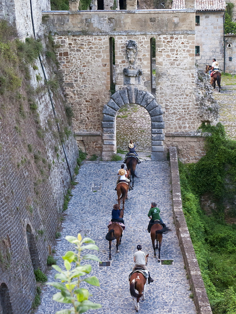 Horse riding, Sorano historic village, Tuscany, Italy, Europe