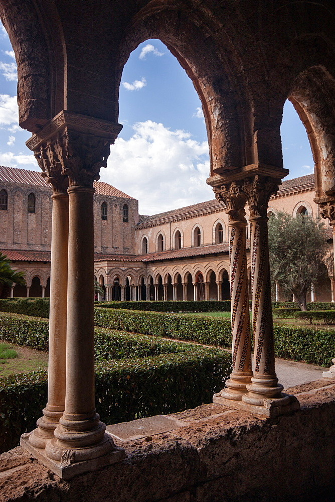 The Cloister in Monreale Cathedral, Sicily, Italy, Europe