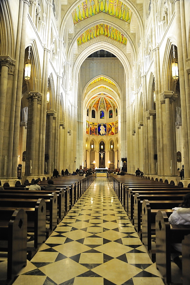 Inside of Cathedral Santa Maria de la Almudena, Madrid, Spain, Europe