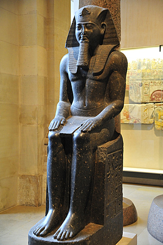 Louvre Museum, Musee du Louvre, Egyptian statue seated Ramses II , Paris, France, Europe