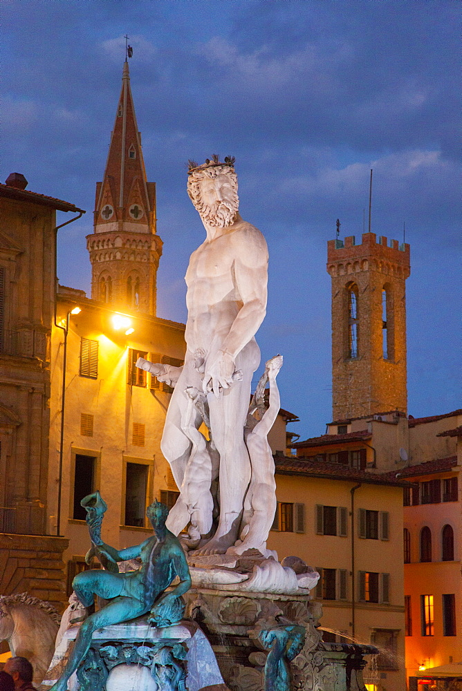 Neptune fountain, Signoria square at dusk Florence, Tuscany, Italy, Europe