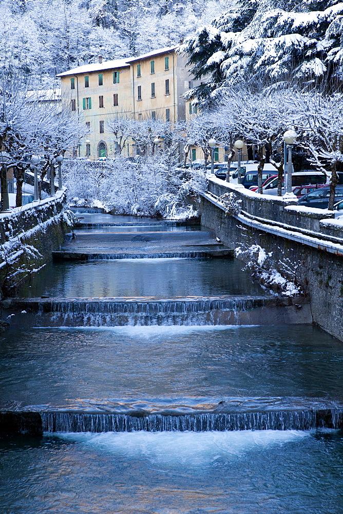 Italy, Emilia, Porretta Terme, landscape of the town in winter