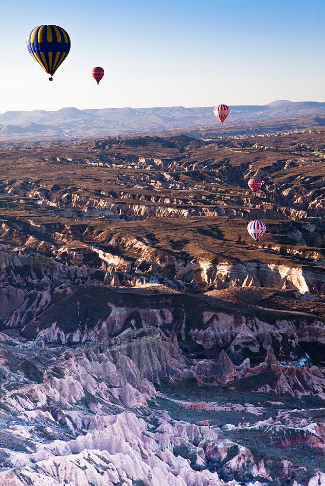Hot Air Balloon, Goreme, Cappadocia, Turkey Balloons of Cappadocia, over the bautiful rock formations of Goreme, Unesco's site