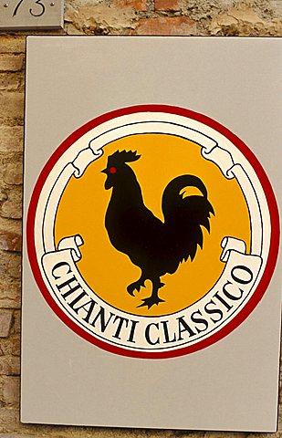 Brand of Gallo Nero, San Gimignano, Tuscany, Italy