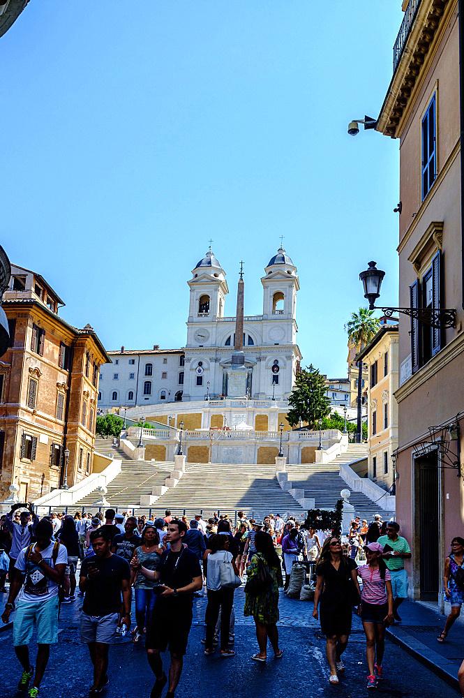 Scalinata Trinita dei Monti, Spanish Steps view from Via Condotti Street, Rome, Lazio, Italy, Europe