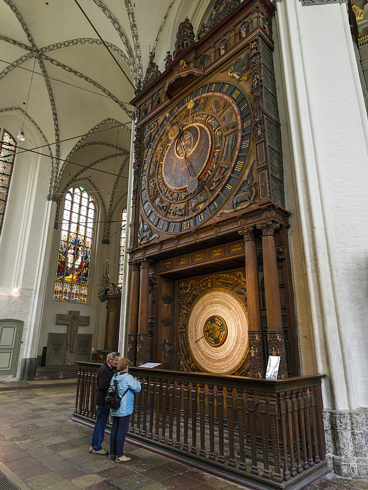 The medieval astronomic clock, the only one of its kind in good working condition. Church  Marienkirche, a landmark of Rostock.  The hanseatic city of Rostock .  Europe,Germany, Mecklenburg-Western Pomerania, June