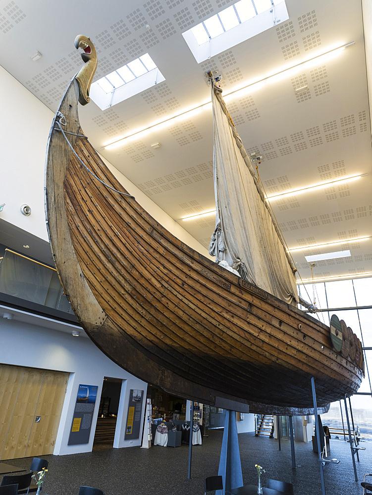 Vikingaheimar (Viking Wolrd), museum in Keflavik displaying a seaworthy replica of a magnificent Viking Ship called  Islendingur.  europe, northern europe, iceland,  February