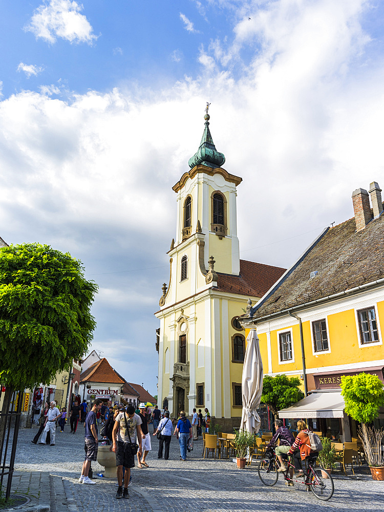 Szentendre near Budapest.  Szentendre, which calls itself the town of artists and churches, is located on the banks of river Danube close to Budapest and is one of the major attractions in Hungary, Europe, Eastern Europe, Pest, Szentendre