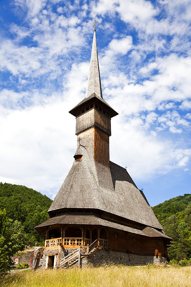 The Barsana monastery, maramures, Romania, was build at the end of the 20th century  from wood only according to old traditions in Maramures, Europe, Eastern Europe, Romania, Maramures