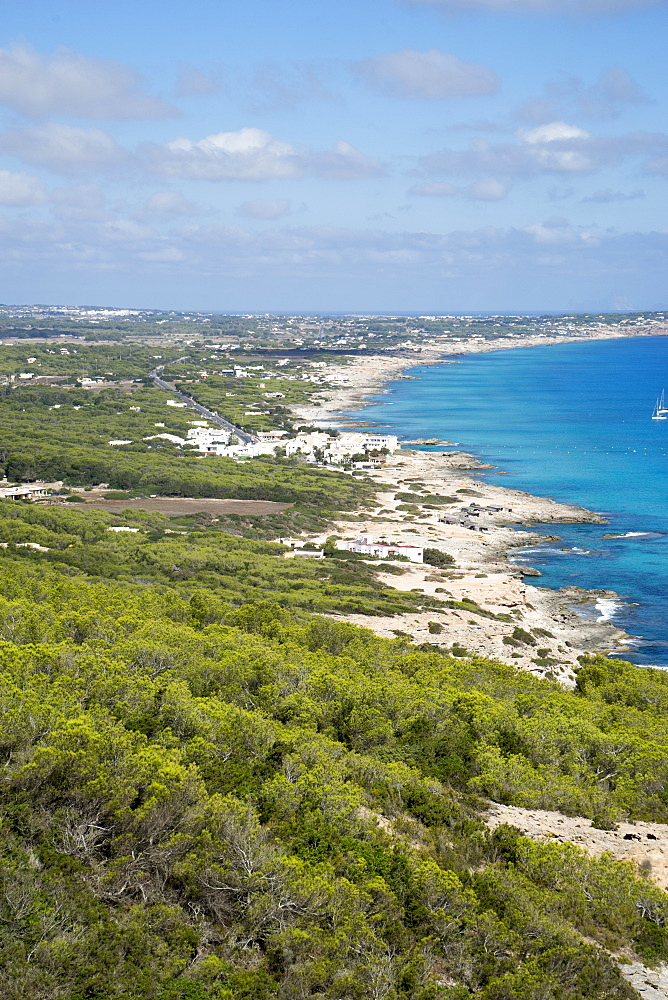 El Camí de Sa Pujada; Cami Romà, View from the path of the Roman path, Formentera, Balearic Islands, Spain - 746-88467