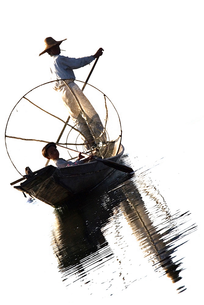 Inle Lake, traditional fishing, Myanmar, Burma, Southeast Asia - 746-88508