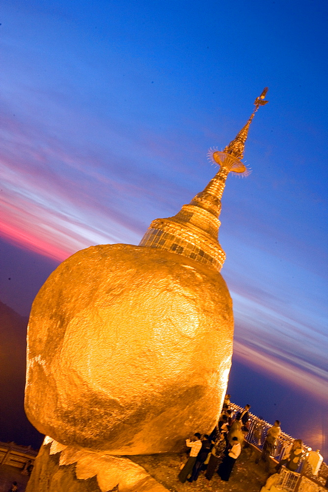 Sunset at Kyaitivo Golden Rock, Myanmar, Burma, Southeast Asia - 746-88509