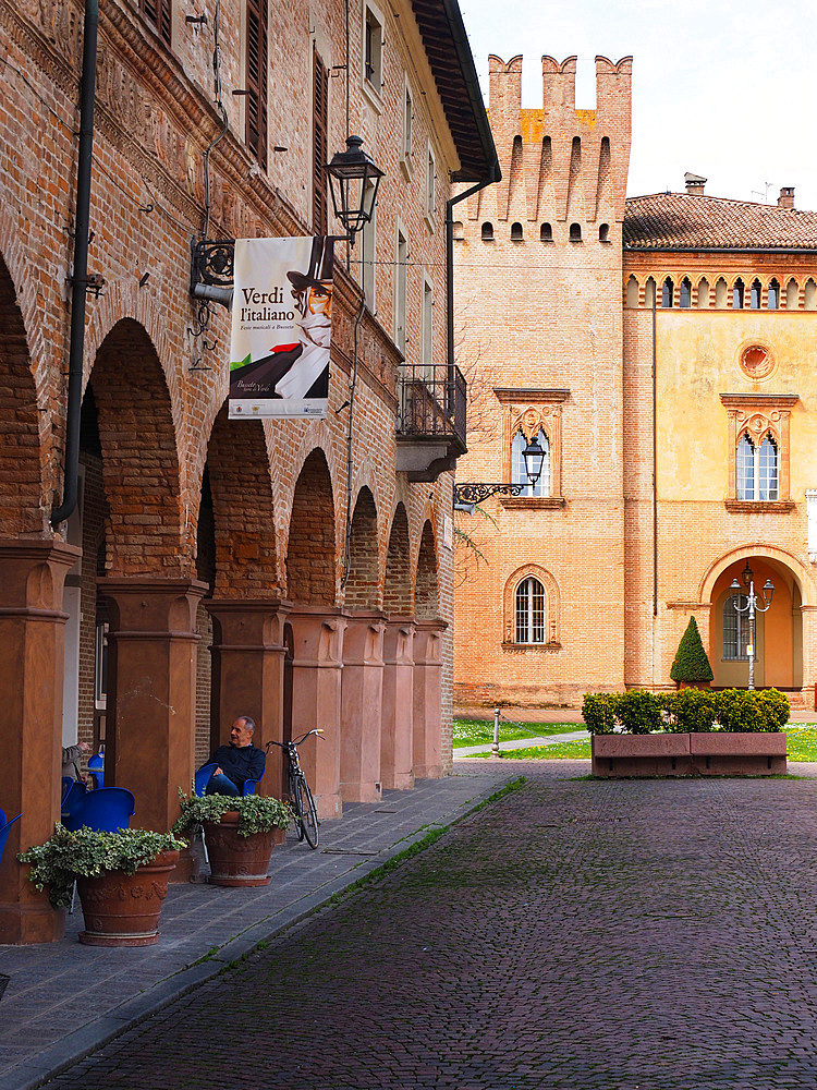 Piazza Giuseppe Verdi, historical center, Busseto, Emilia Romagna, Italy, Europe