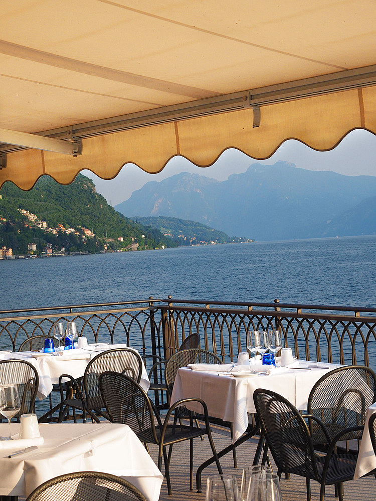 Hotel Du Lac restaurant, historical center, Varenna, Lake Como, Lombardy, Italy, Europe