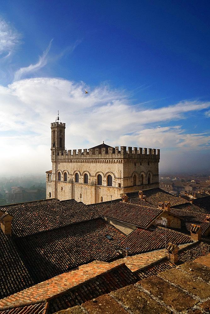 View of Palazzo dei Consoli palace from Giardini del Voltone garden, Gubbio, Umbria, Italy, Europe
