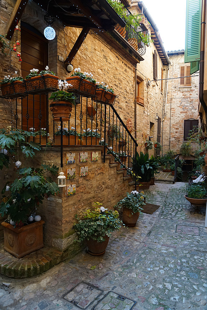 Historical center, Spello, Umbria, Italy, Europe
