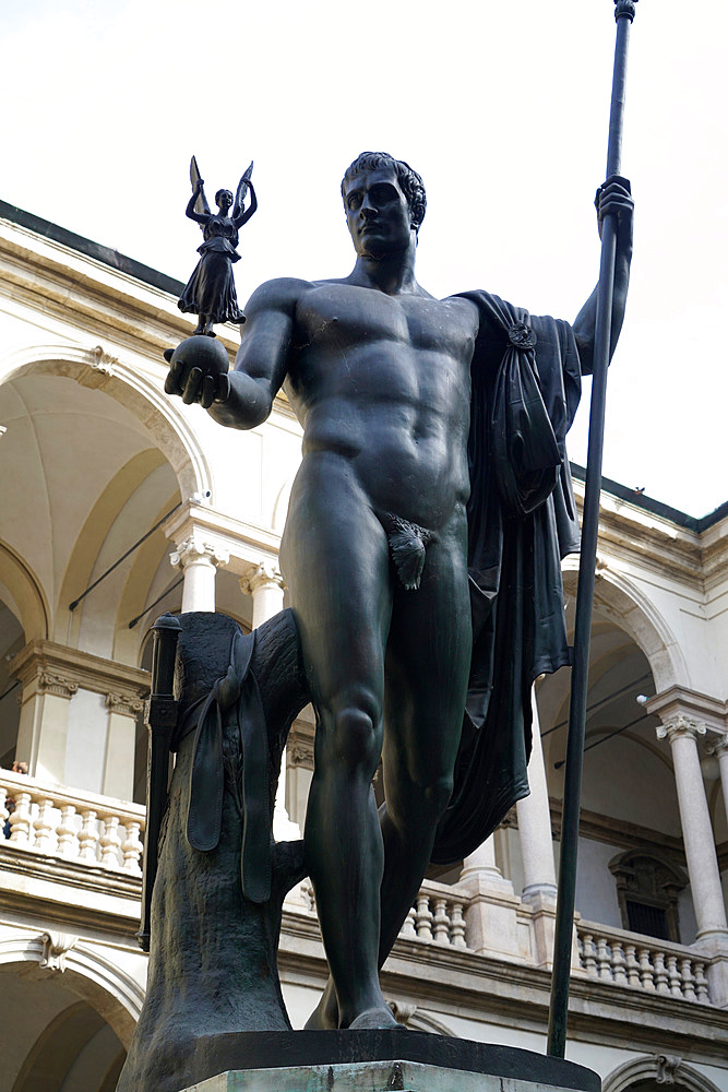 Brera Accademy, Napoleone statue, courtyard, Brera district, Milan, Lombardy, Italy, Europe