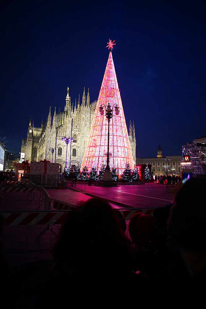 Milan, the lighting of the Christmas tree in Piazza Duomo square, Milan, Lombardy, Italy, Europe