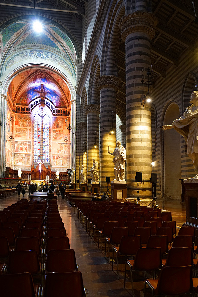 Interiors of the Cathedral Basilica of Santa Maria Assunta is the main Catholic place of worship in Orvieto, and a masterpiece of Gothic architecture in Central Italy, Umbria, Italy, Europe