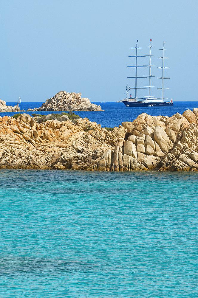 Falcon, Perini Yacht, Island of Budelli; La Maddalena Archipelago, Bocche di Bonifacio, Sardinia, Italy, Europe