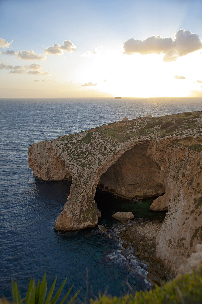 Wied iz-Zurriec, Blue Grotto and Filfola Islet, Malta Island, Mediterranean Sea, Europe