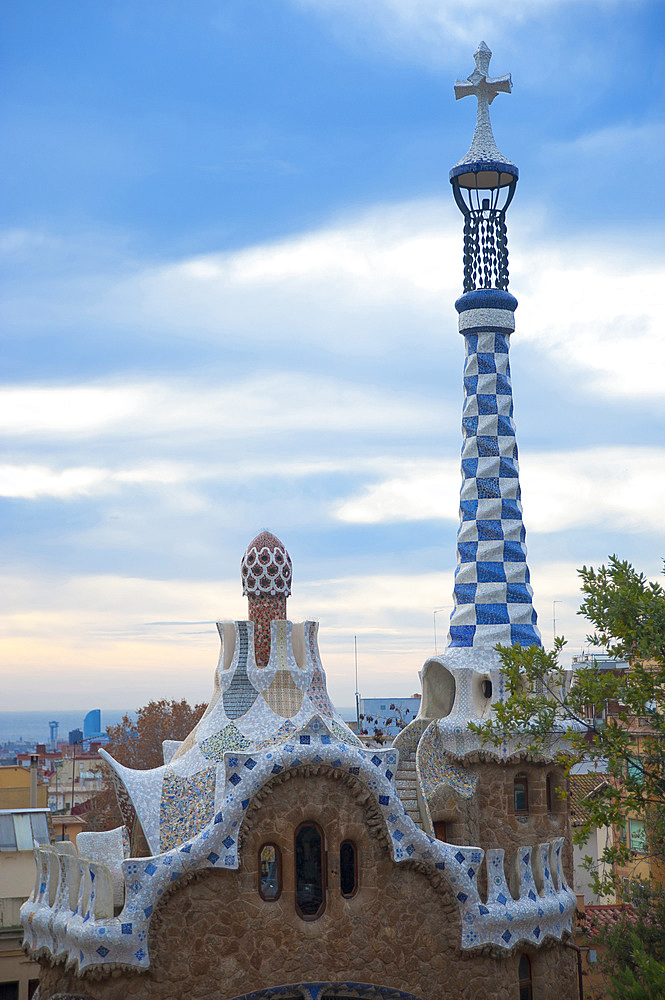 Entrance Parc Güell, Barcelona, Catalonia, Spain, Europe