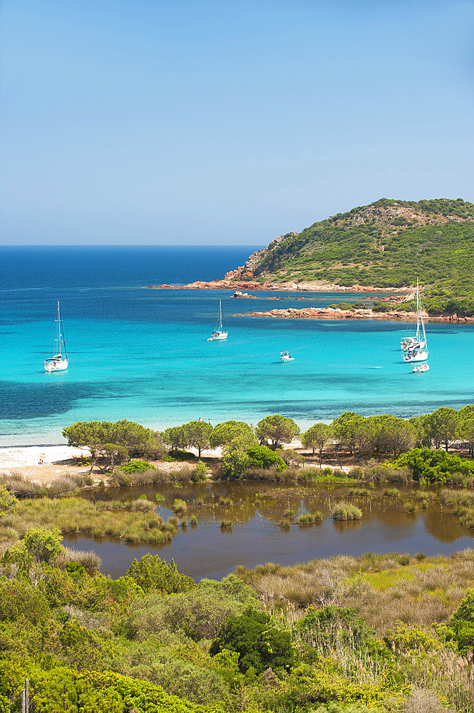 Rondinara bay seen from the side of the Prisarella pond, Corsica, France, Europe