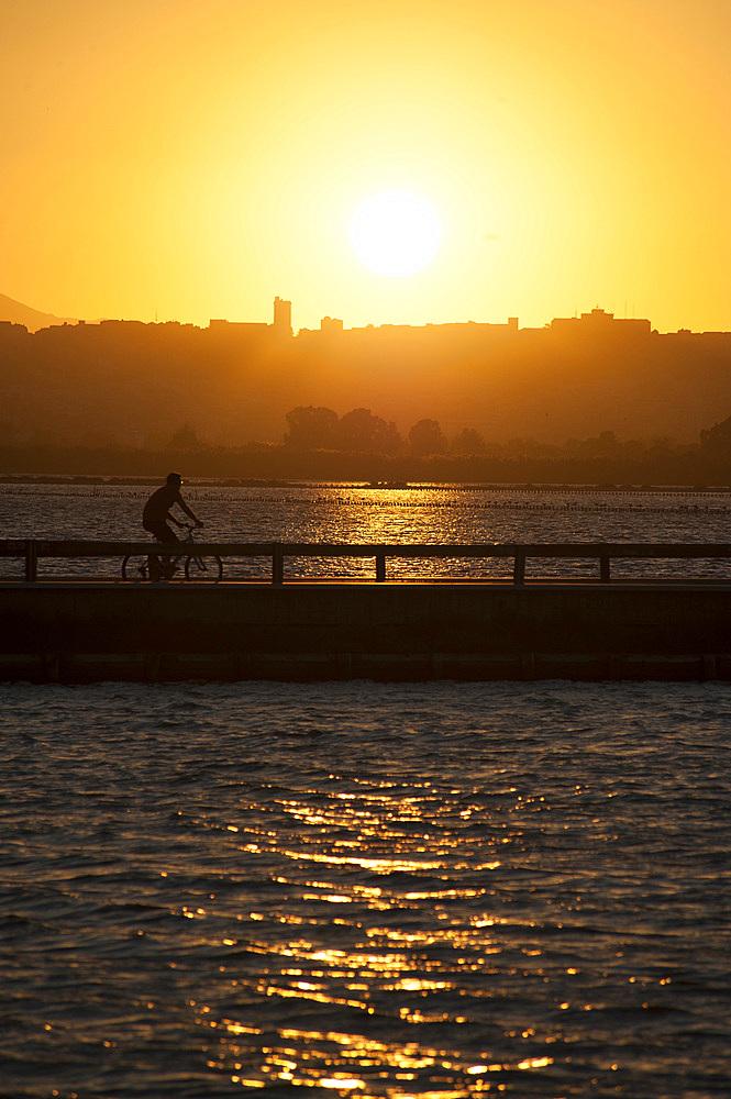 Sunset, Cagliari, View from Saline of Quartu Sant'Elena, Sardinia, Italy, Europe