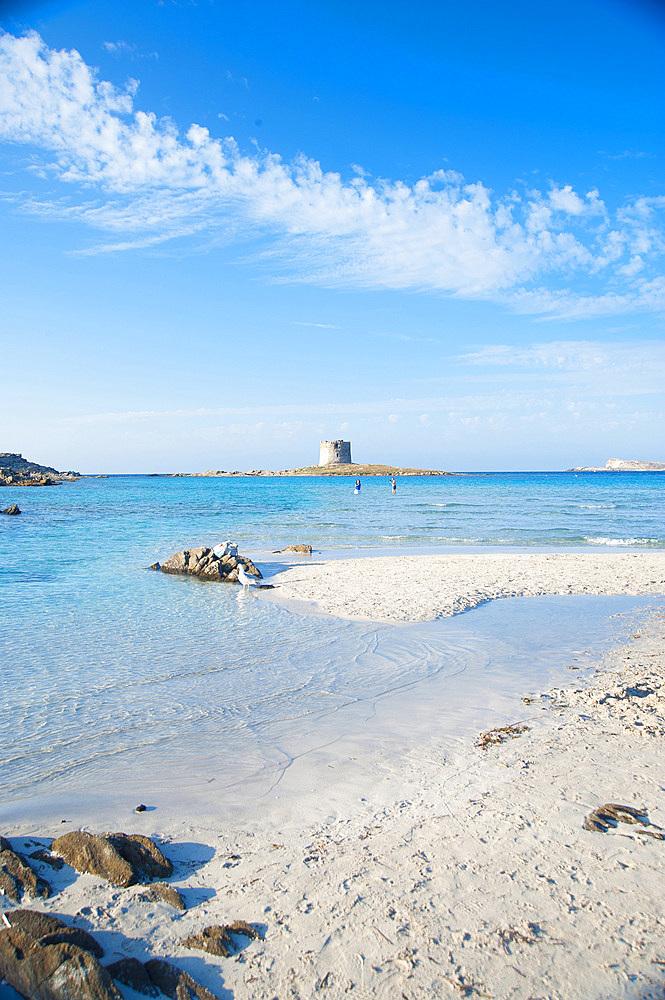 La Pelosa Beach and La Pelosa Tower, Stintino, North Sardinia, Italy, Europe