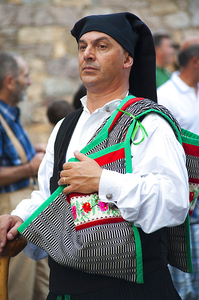 Typical dress of Sardara, Procession of Santa Maria de is Aquas, Sardara, Sardinia, Italy, Europe