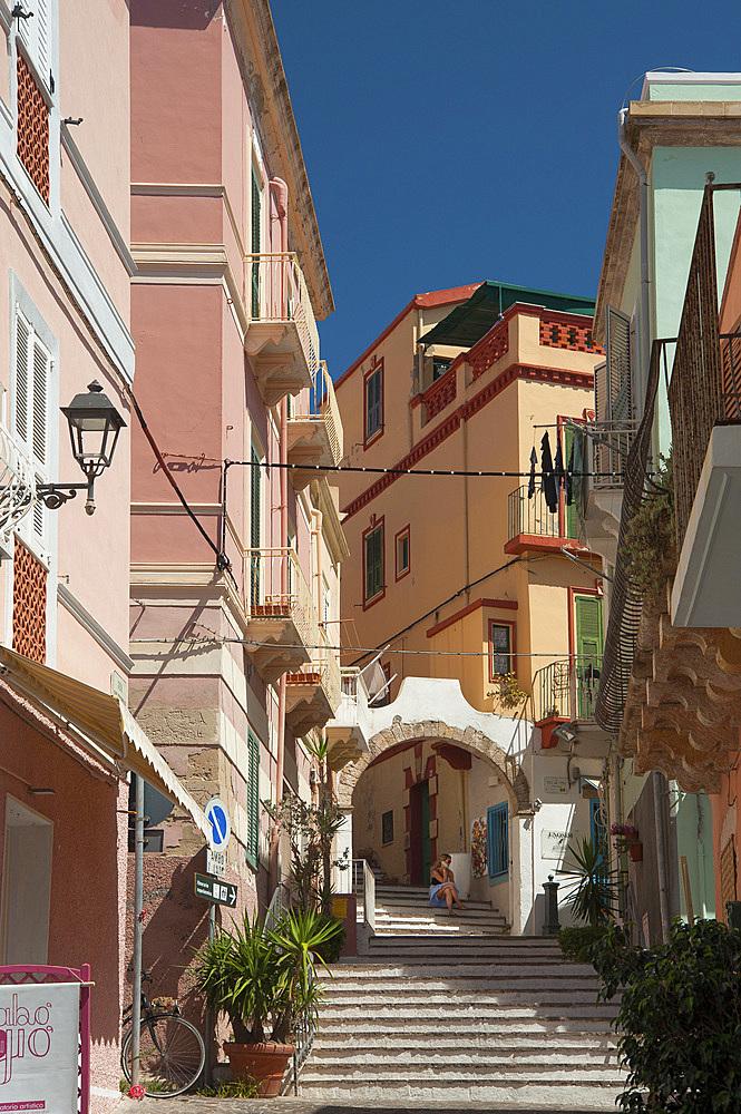 Arch, Via Solferino, Carloforte, San Pietro Island, Sardinia, Italy, Europe