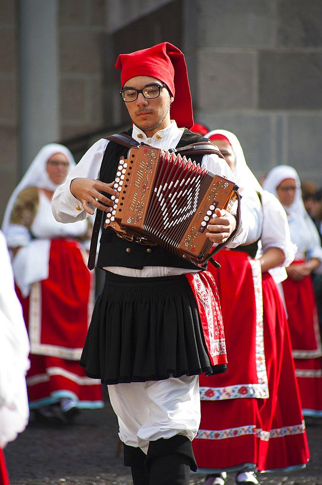 Typical dress of Samassi, Procession of Santa Vitalia, Serrenti, Sardinia, Italy, Europe