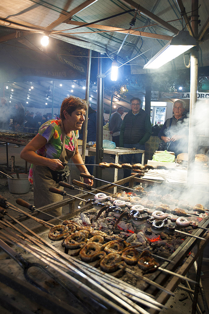 Cuttlefish and Eels on the spit, Mullet Grilled, Typical Sardinia recipe, Feast of Santa Vitalia, Serrenti, Campidano, Sardinia, Italy, Europe,