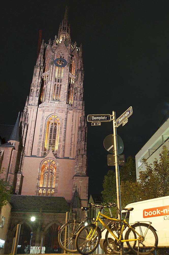Kaiserdom St. Bartholomäus, Dome of Saint Bartholomew, Domeplatz, Frankfurt am Mein, Frankfurter skyline, Frankfurt, Hesse, Germany, Europe