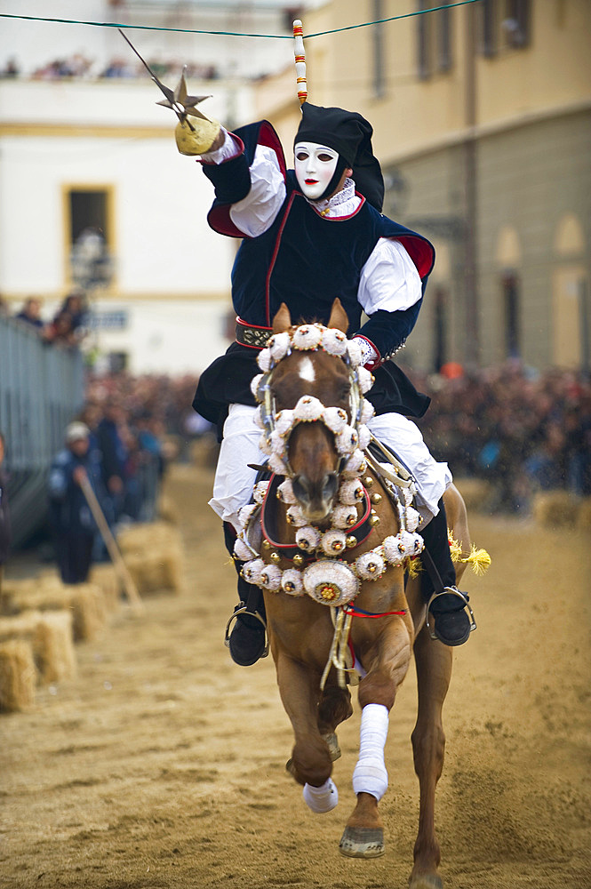 The Sartiglia is a race to the star that takes place on the last Sunday and Tuesday of Carnival in Oristano, Sardinia, Italy, Europe